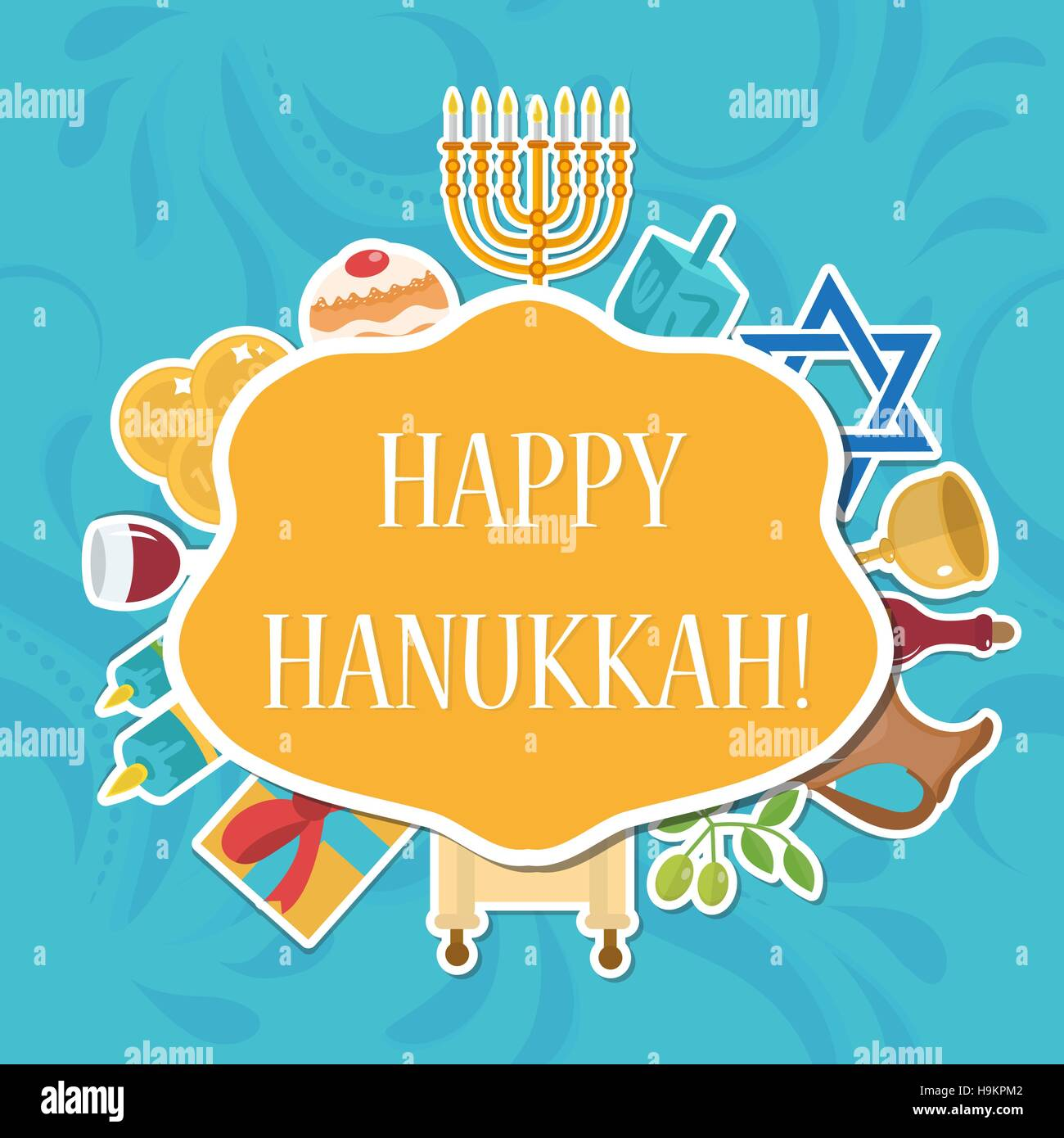 Happy hanukkah greeting card invitation poster jewish festival of happy hanukkah greeting card invitation poster jewish festival of lights feast dedication with menorah vector illustration stopboris Images