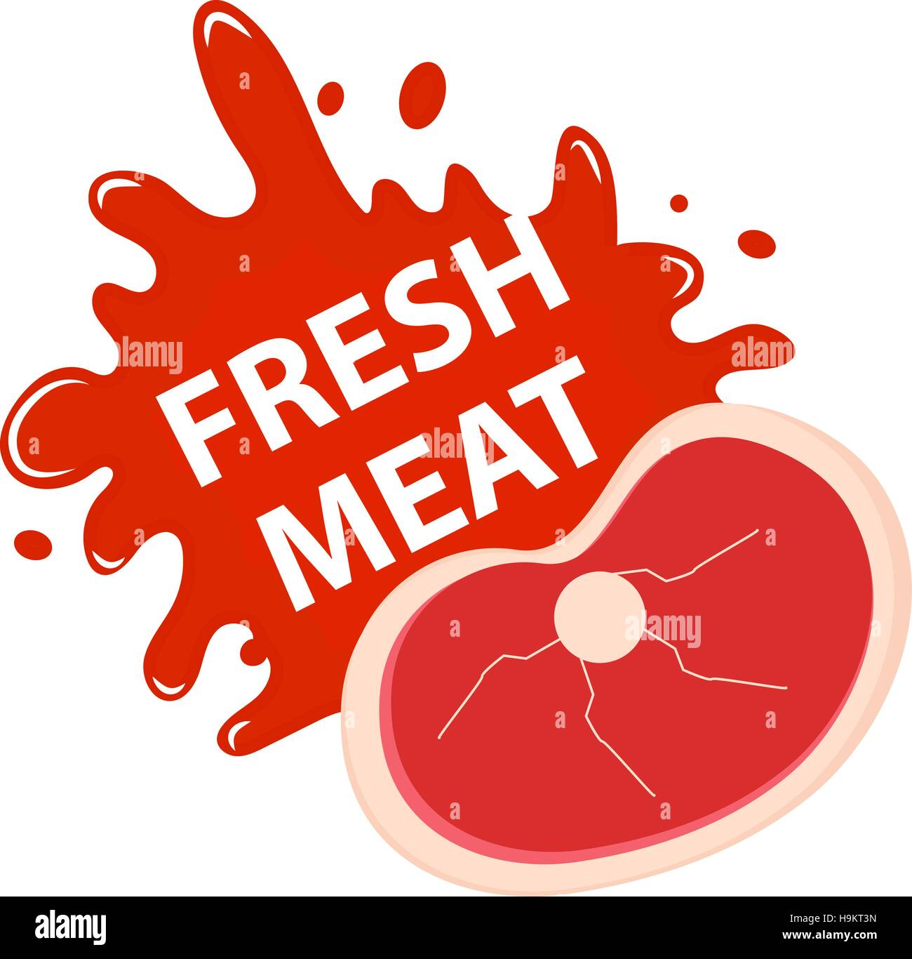 Fresh meat with a splash, icon flat style. - Stock Vector