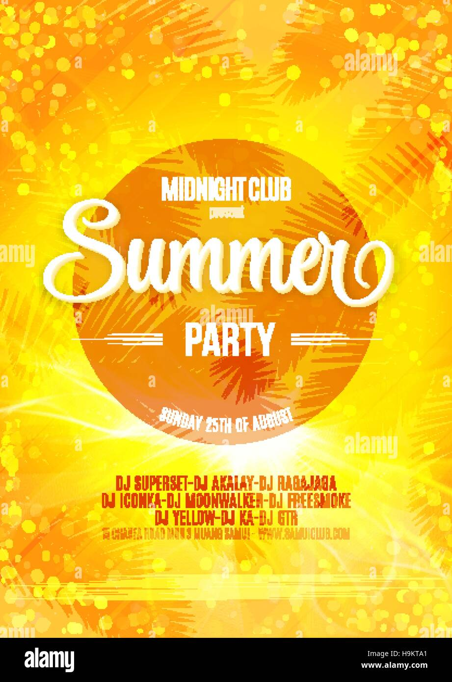 Summer Party Bright Poster On A Bokeh Backdrop Happy Vacation Card