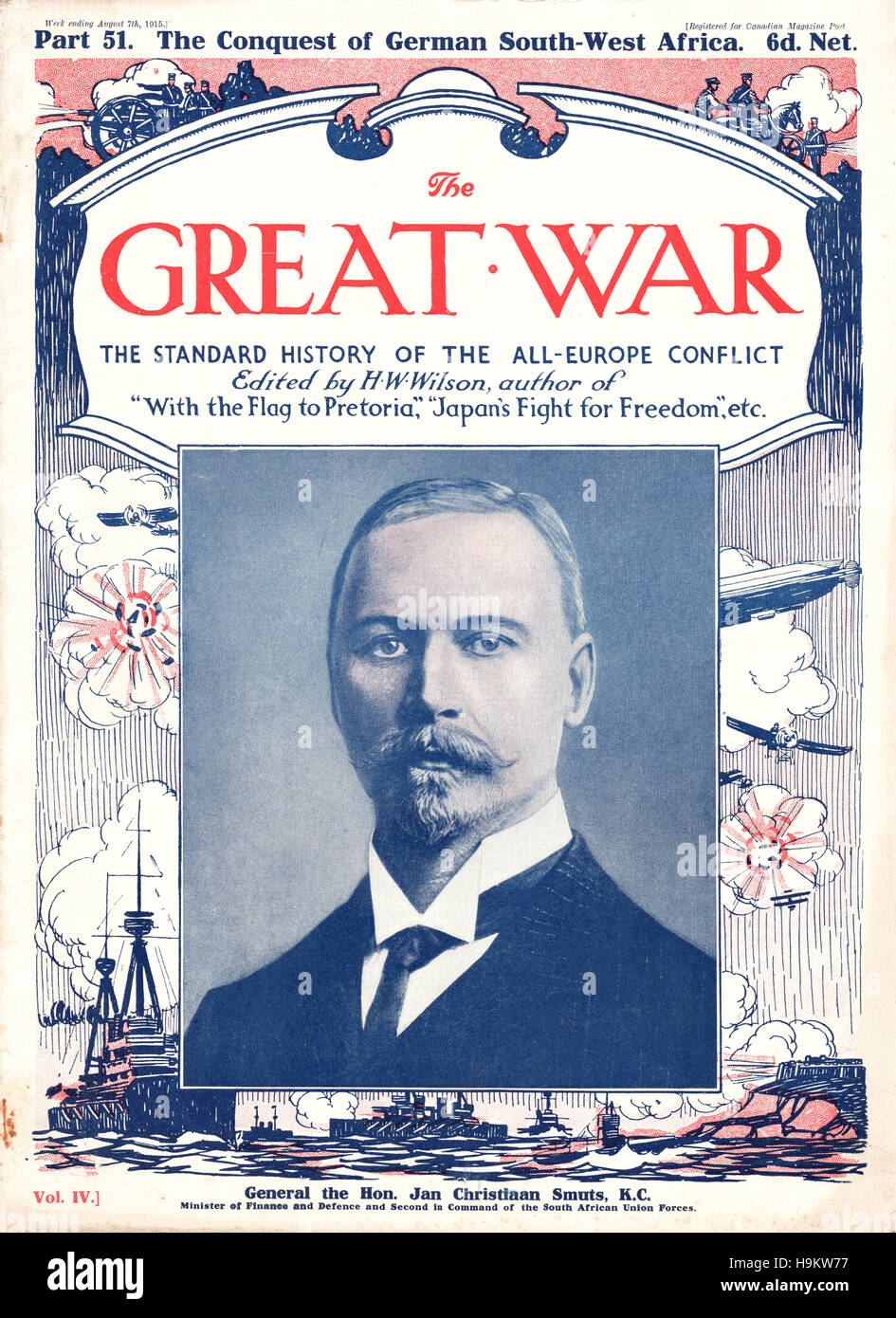 1915 The Great War front page General Jan Christiaan Smuts - Stock Image
