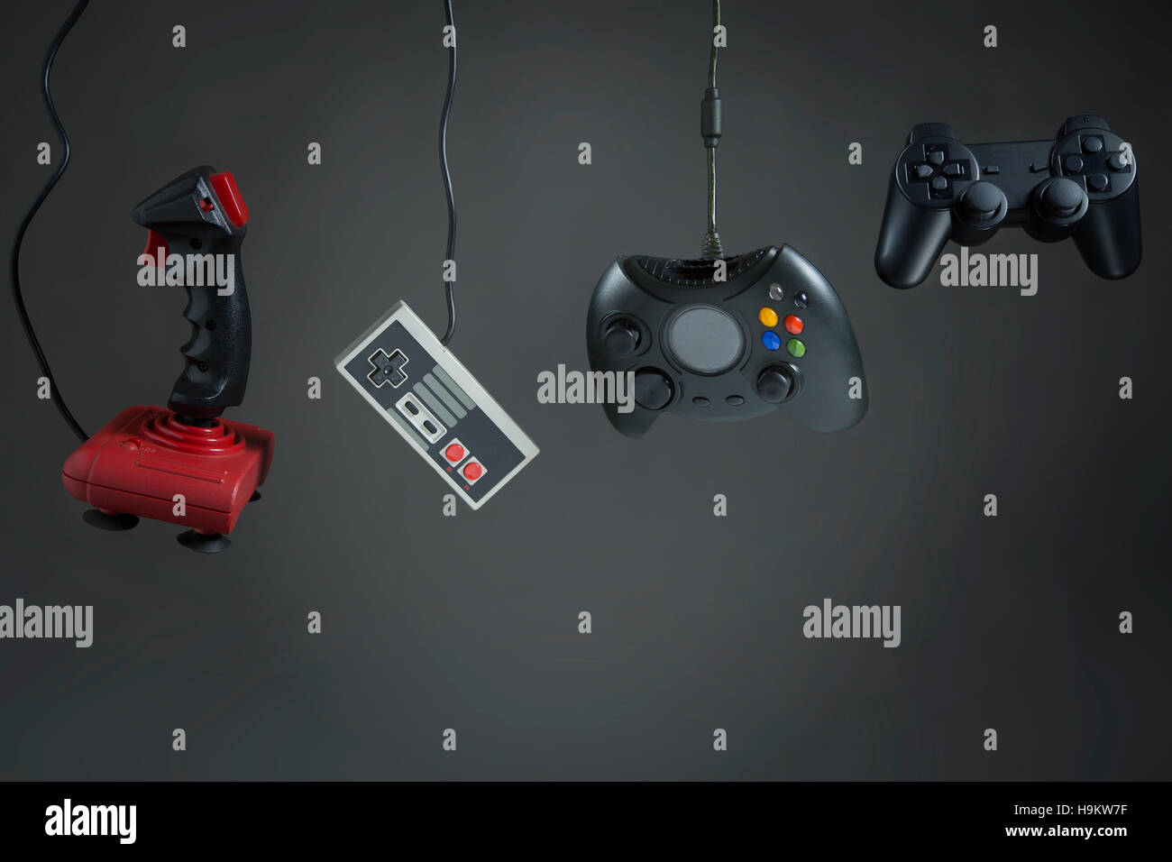 History of the evolution of technological joystick - Stock Image
