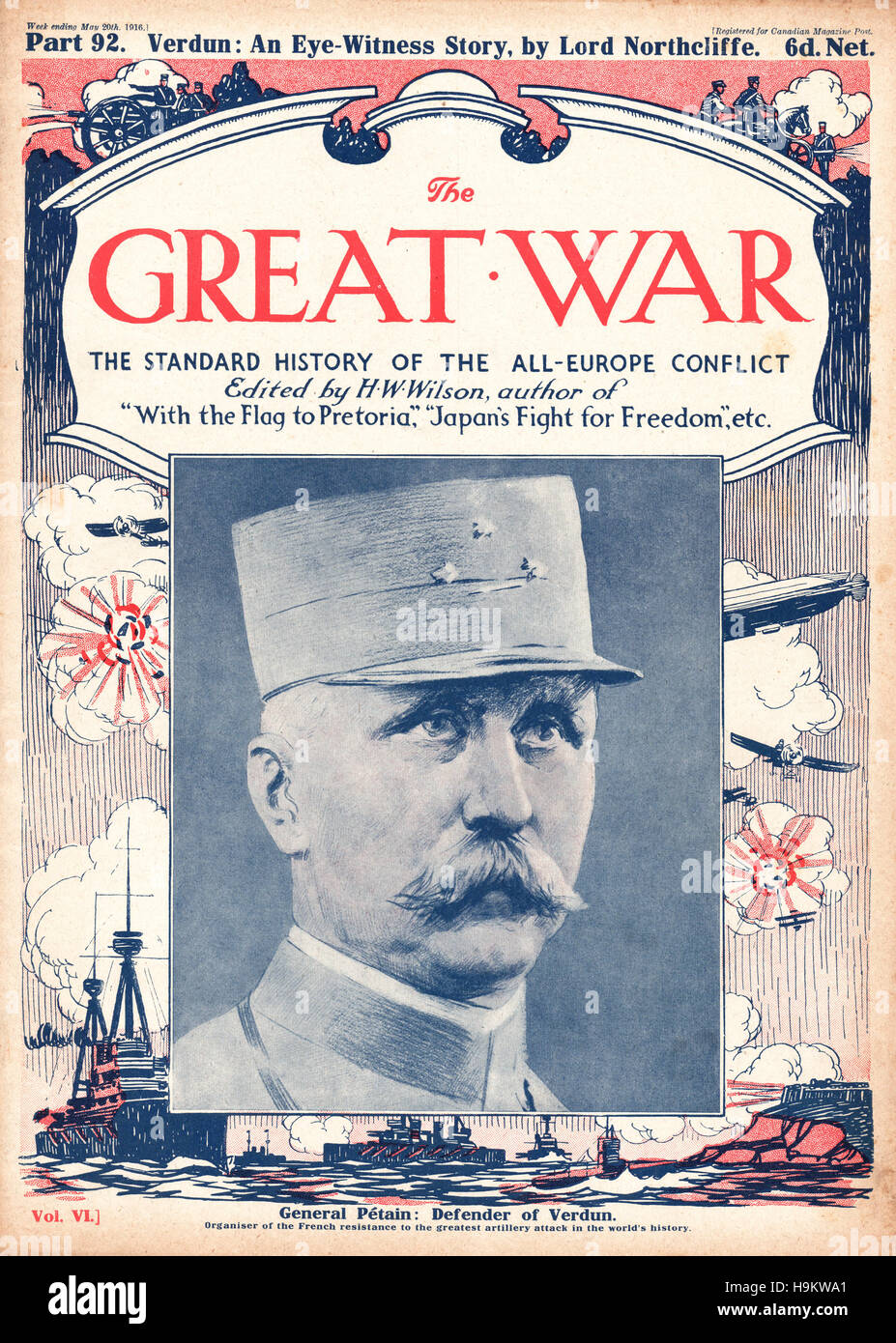 1916 The Great War front page General Pétain - Stock Image