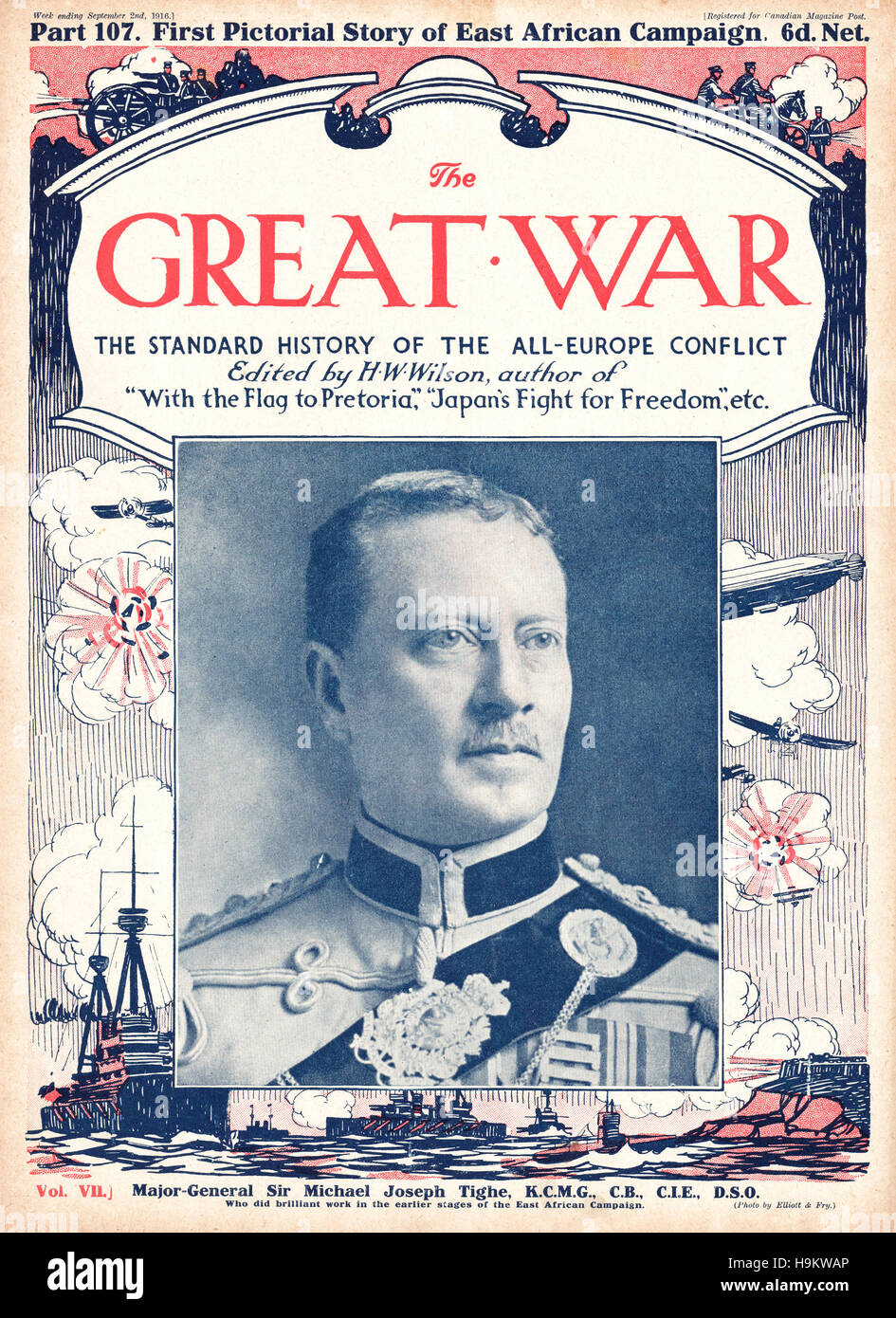 1916 The Great War front page Major General Sir Michael Joseph Tighe Stock Photo