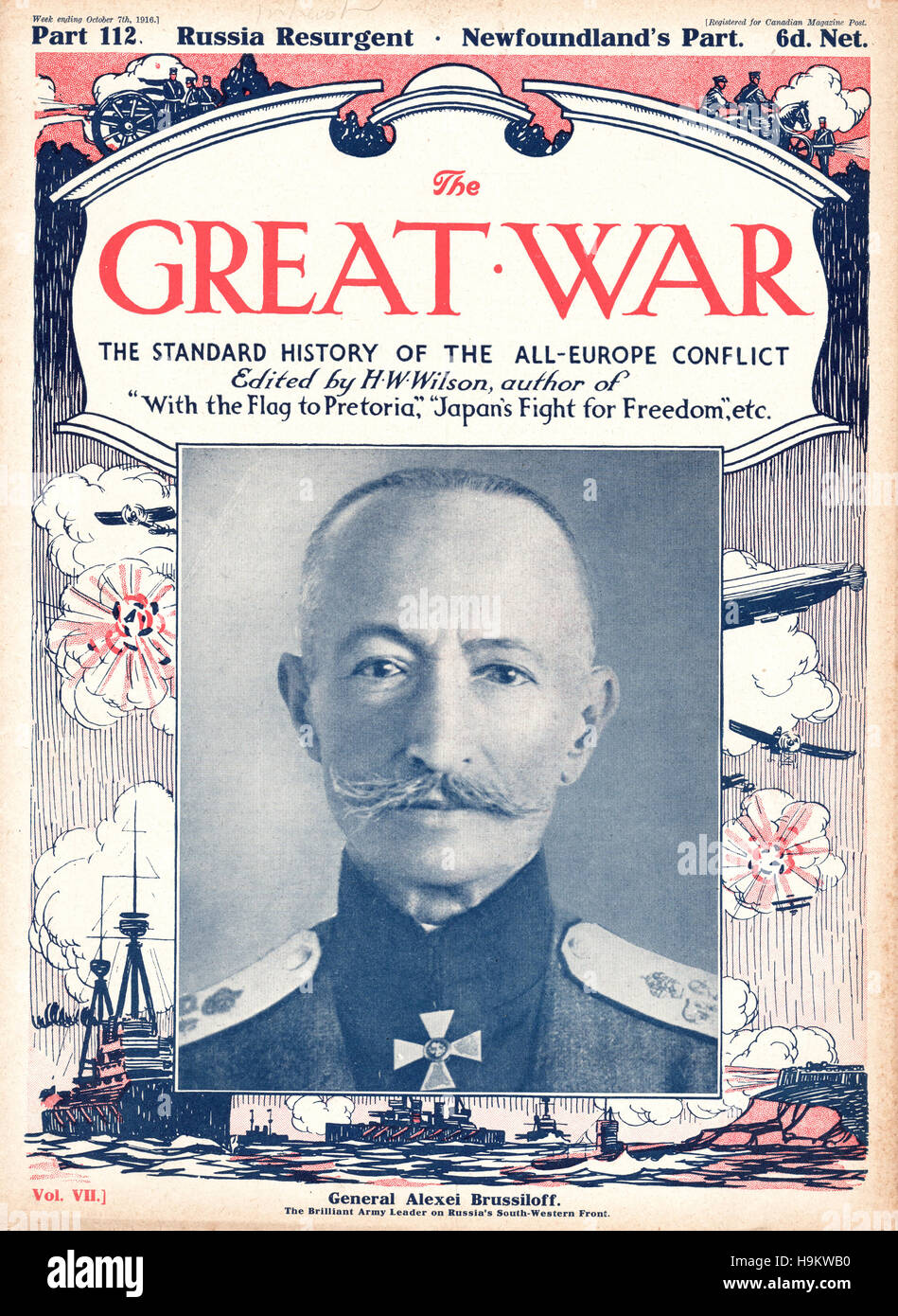1916 The Great War front page Aleksei Alekseevich Brusilov Stock Photo