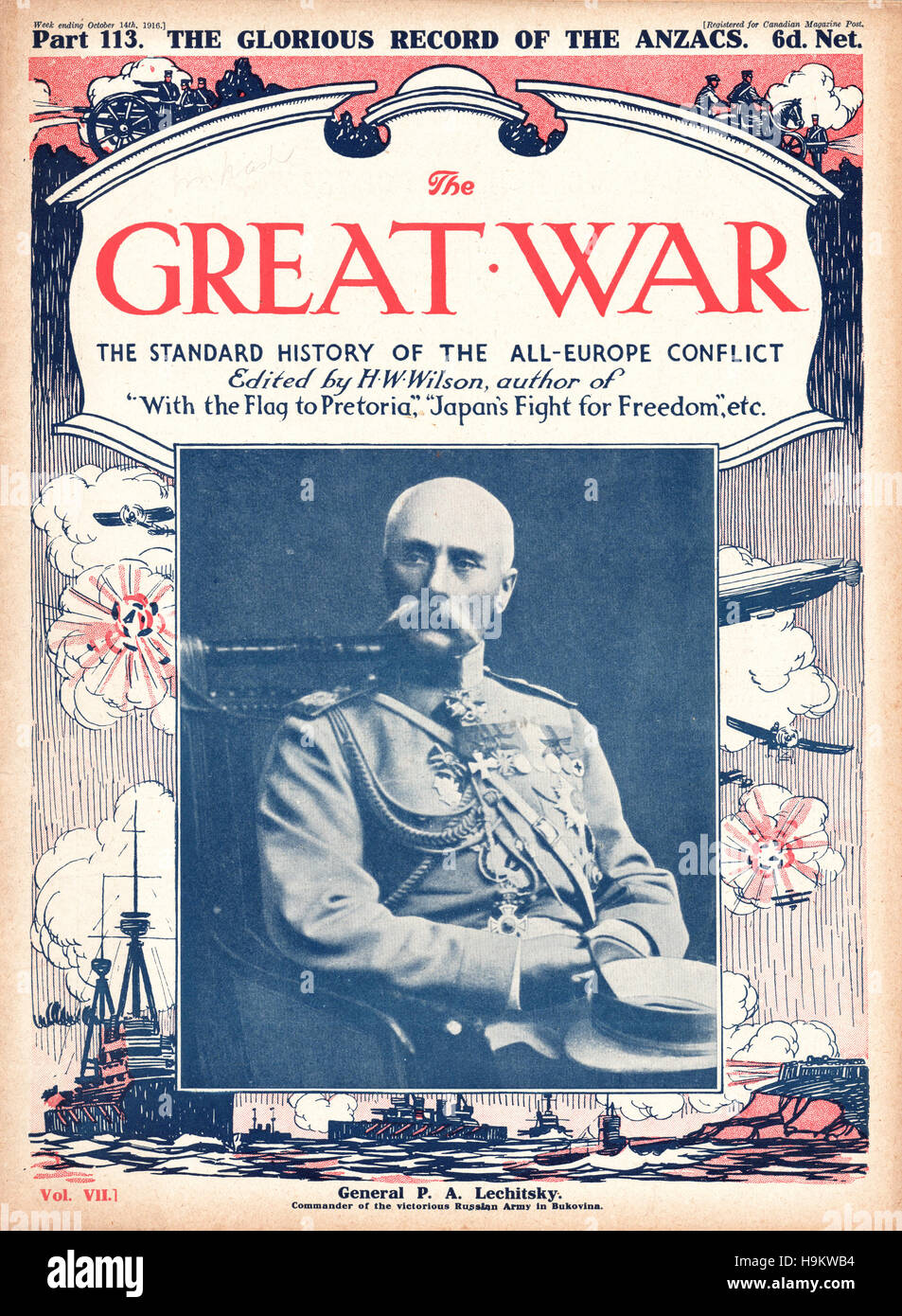 1916 The Great War front page General Platon Lechitsky - Stock Image