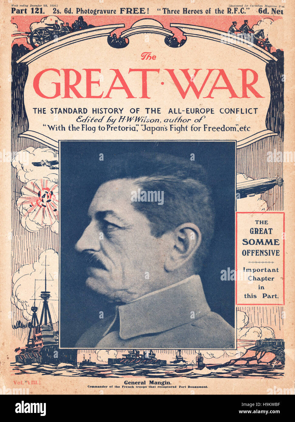 1916 The Great War front page General Charles Mangin Stock Photo