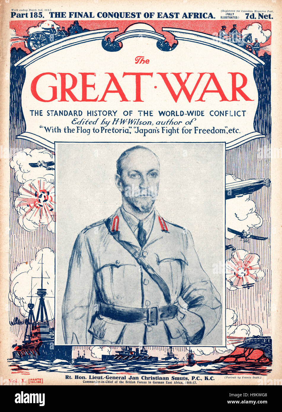 1918 The Great War front page Lt. General Jan Christaan Smuts - Stock Image