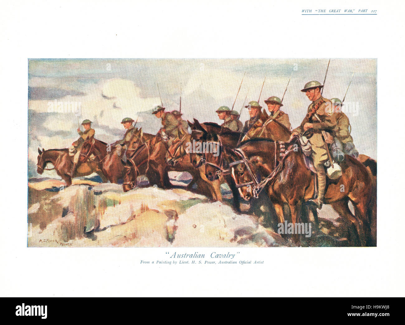 1918 The Great War front page Illustration of Australian Cavalry - Stock Image