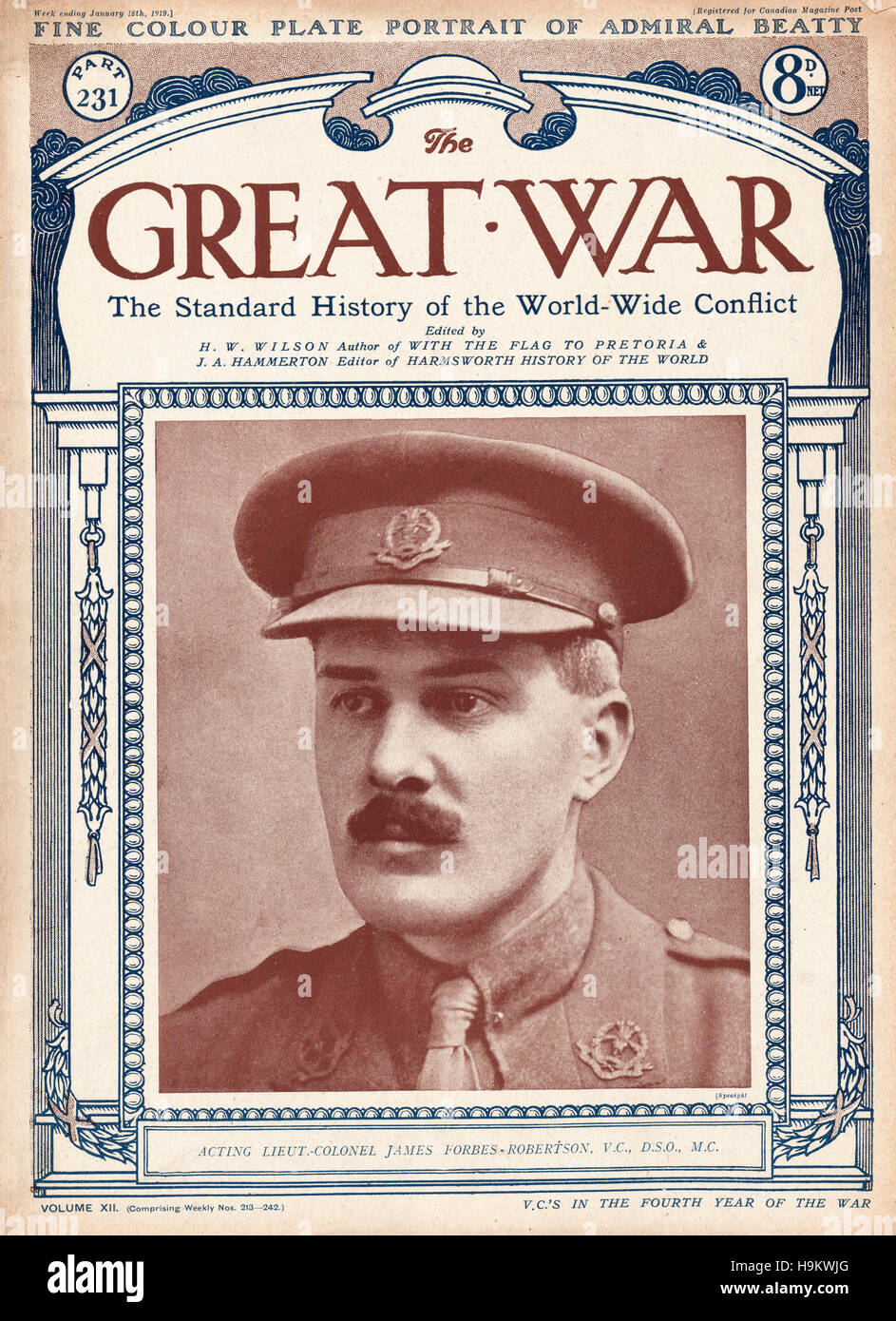 1919 The Great War front page  Lt. Colonel James Forbes Robertson, VC - Stock Image