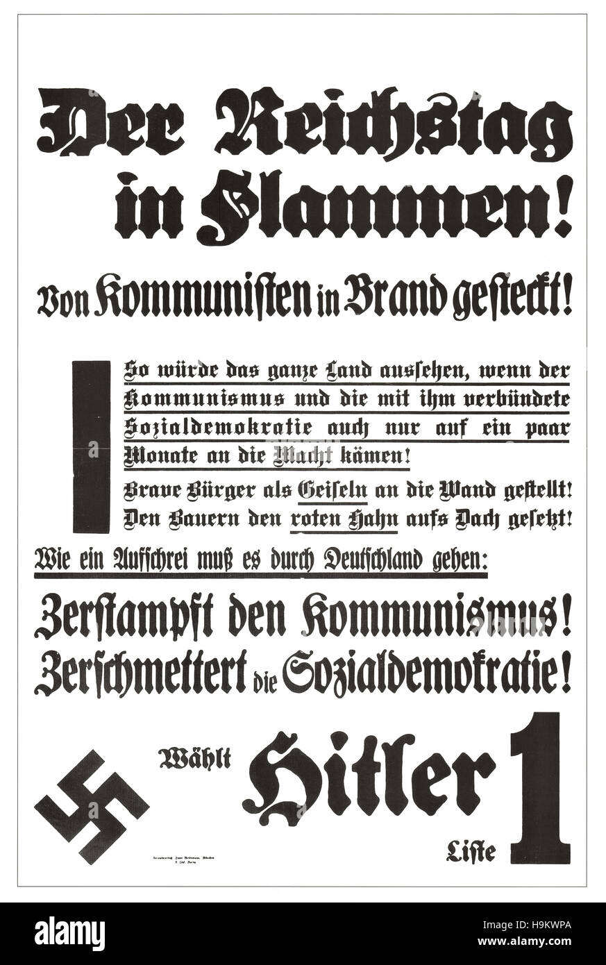 1933 Vorwärts front page (Germany) Reichstag fire - Stock Image