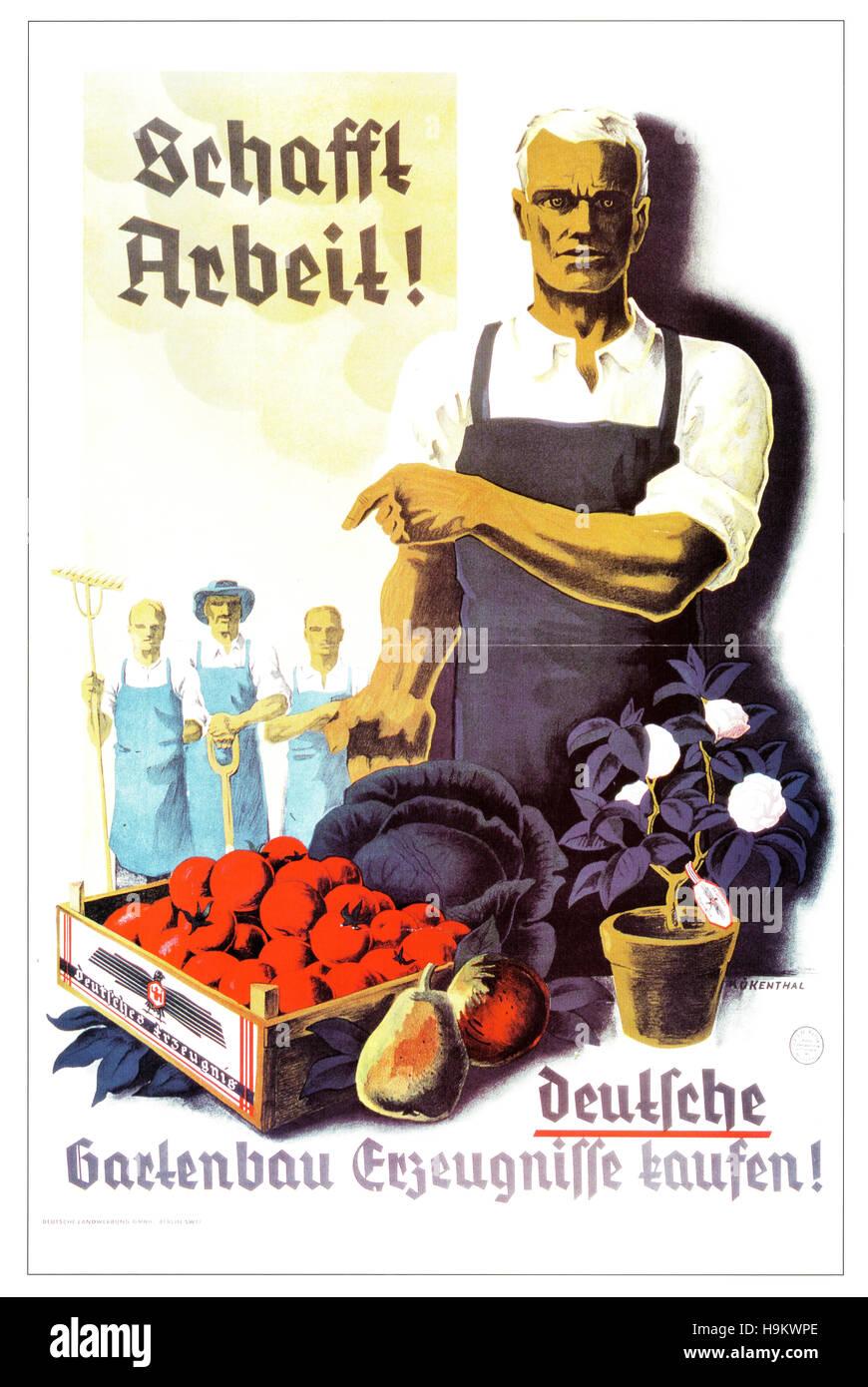 1933 Nazi Propaganda Self-sufficiency poster - Stock Image