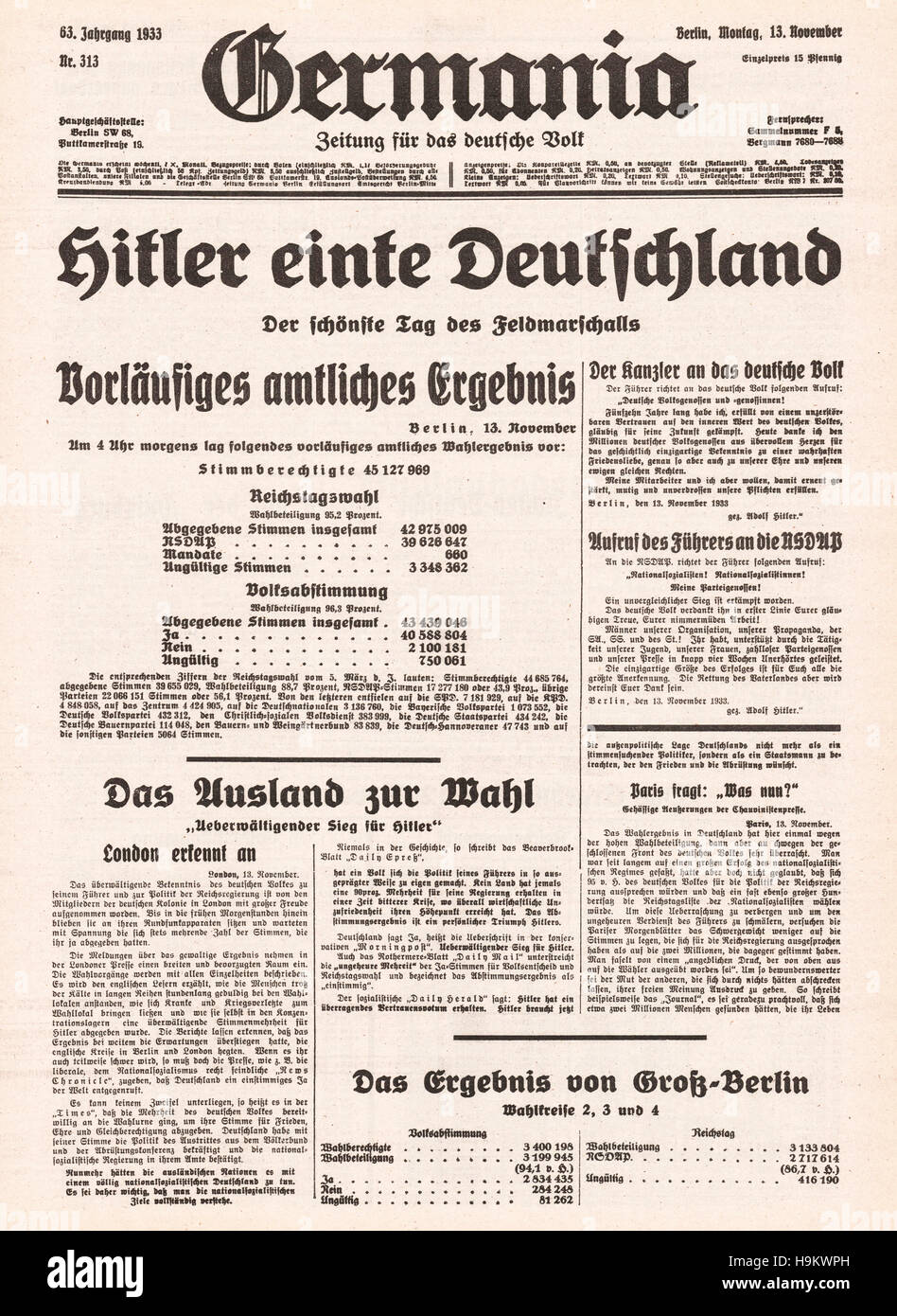 1933 front page (Germany) Hitler unites Germany after general election - Stock Image