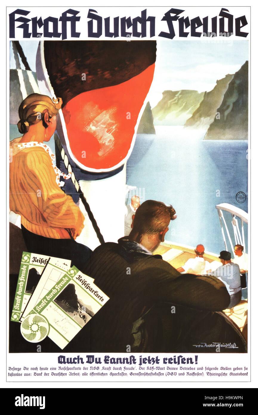 1934 Nazi Propaganda Poster 'Kraft Durch Freude' - Stock Image