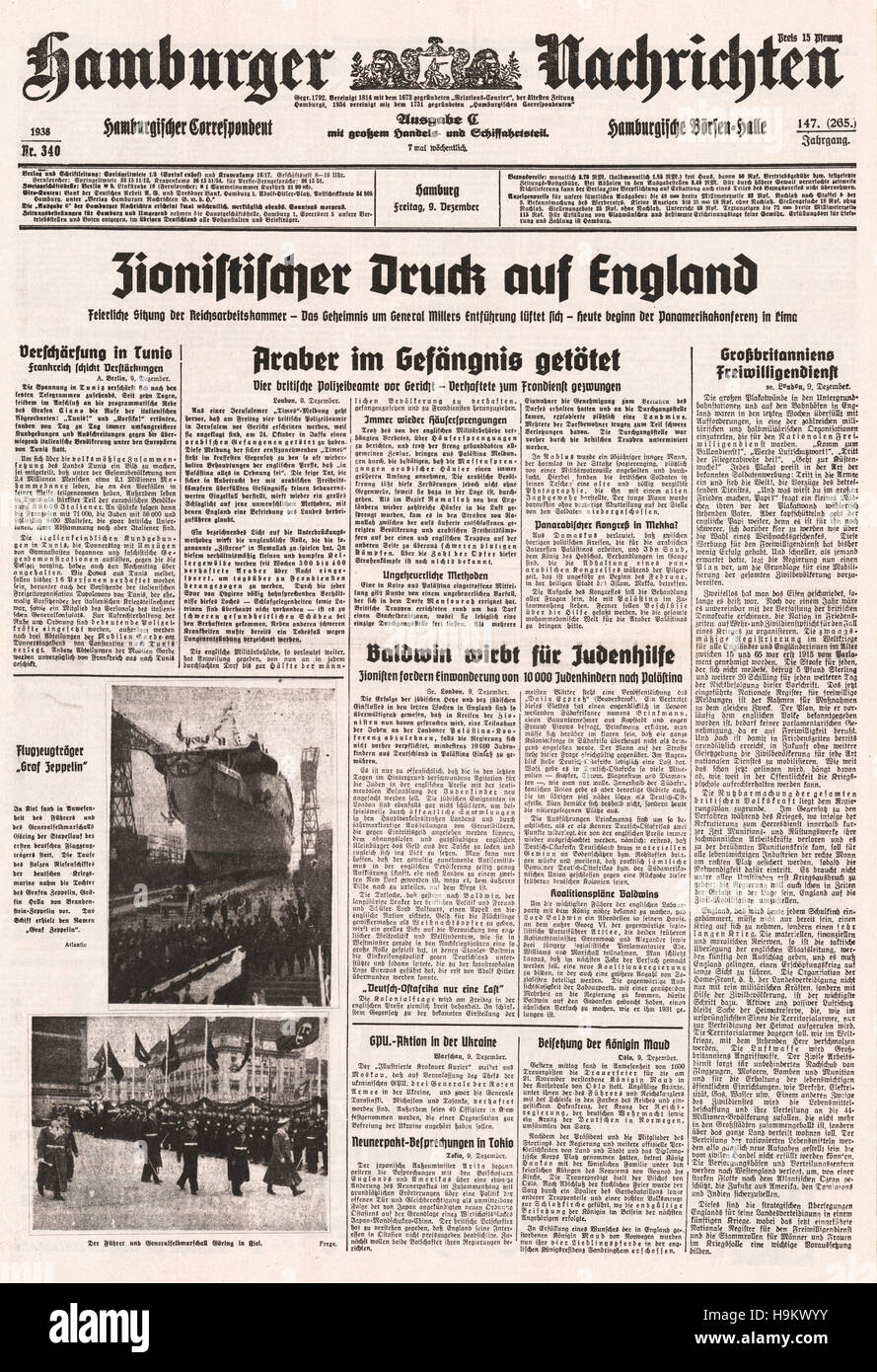 1938 Hamburger Nachrichten front page (Germany)  'Zionist pressure on Britain' and launching of aircraft carrier Stock Photo