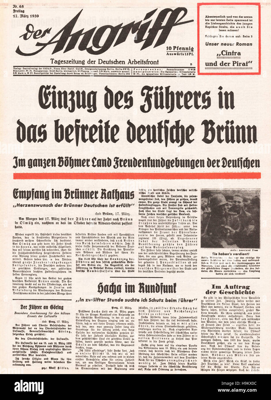 1939 Der Angriff (Germany) front page German army enter Czechoslovakia Stock Photo