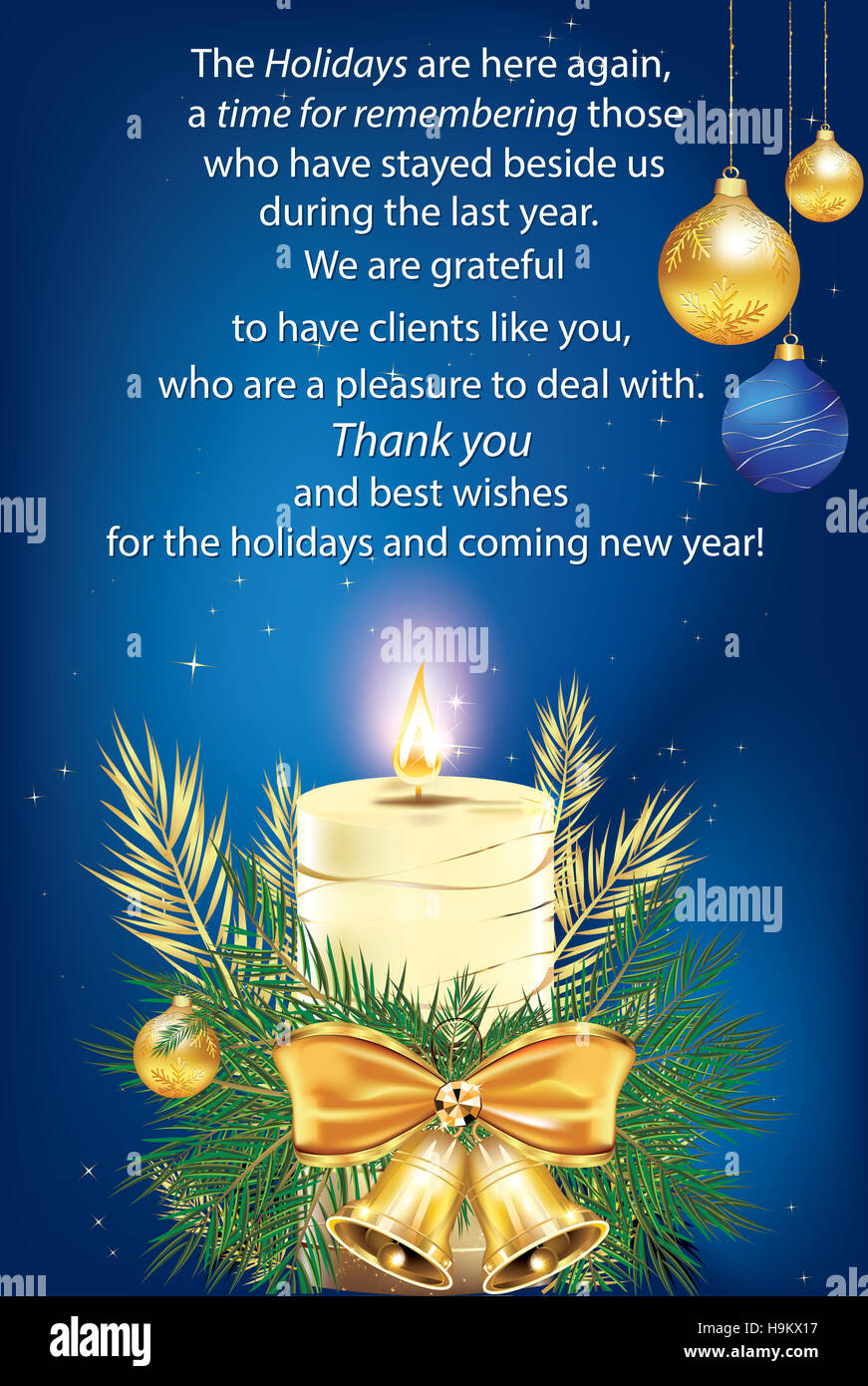 Thank You elegant business greeting card for Christmas ...