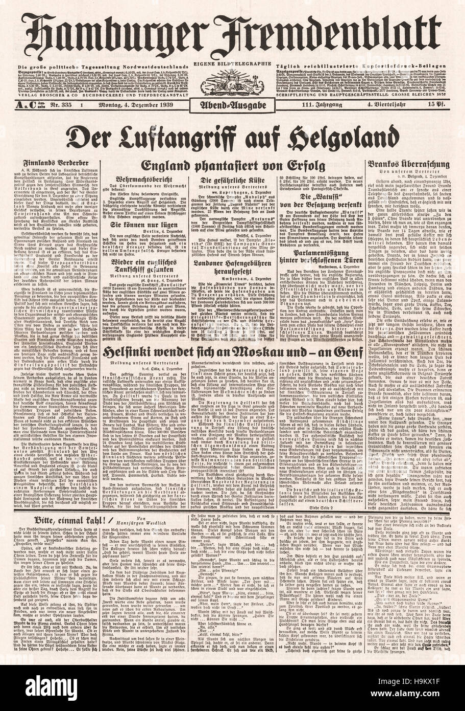 1939 Hamburger Frendenblatt front page reporting bombing of Heligoland by the RAF and plea for help by Finland to - Stock Image