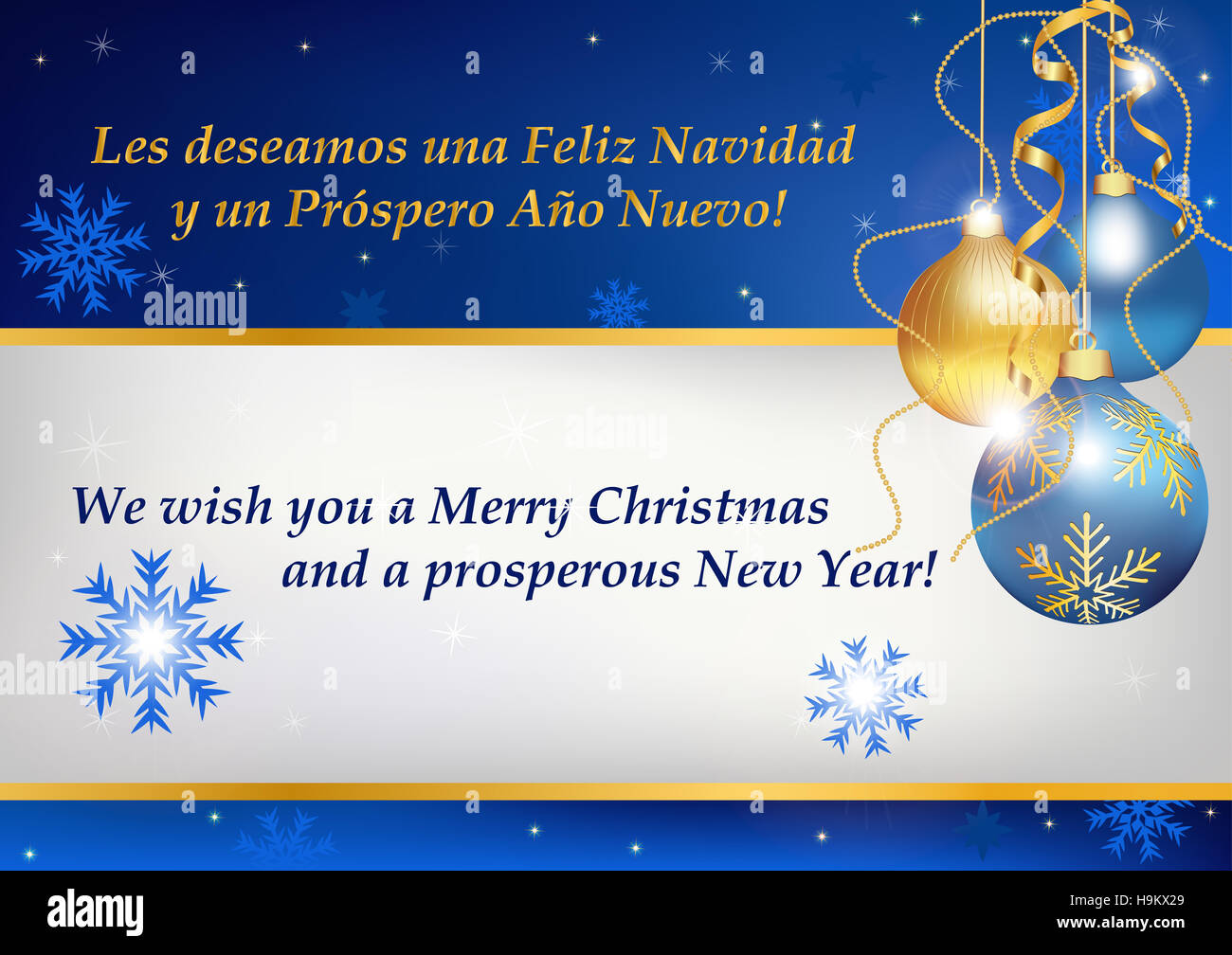 Business Christmas and New Year greeting card in two languages Stock ...