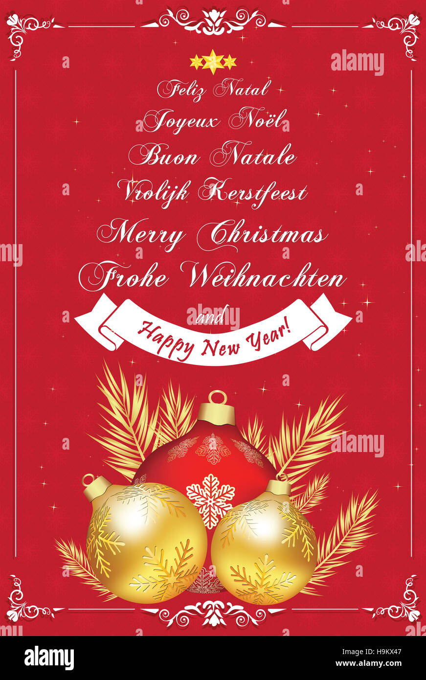 Dutch christmas card christmas baubles stock photos dutch christmas wishes in many languageseeting card with snowflakes pattern and text in many languages m4hsunfo