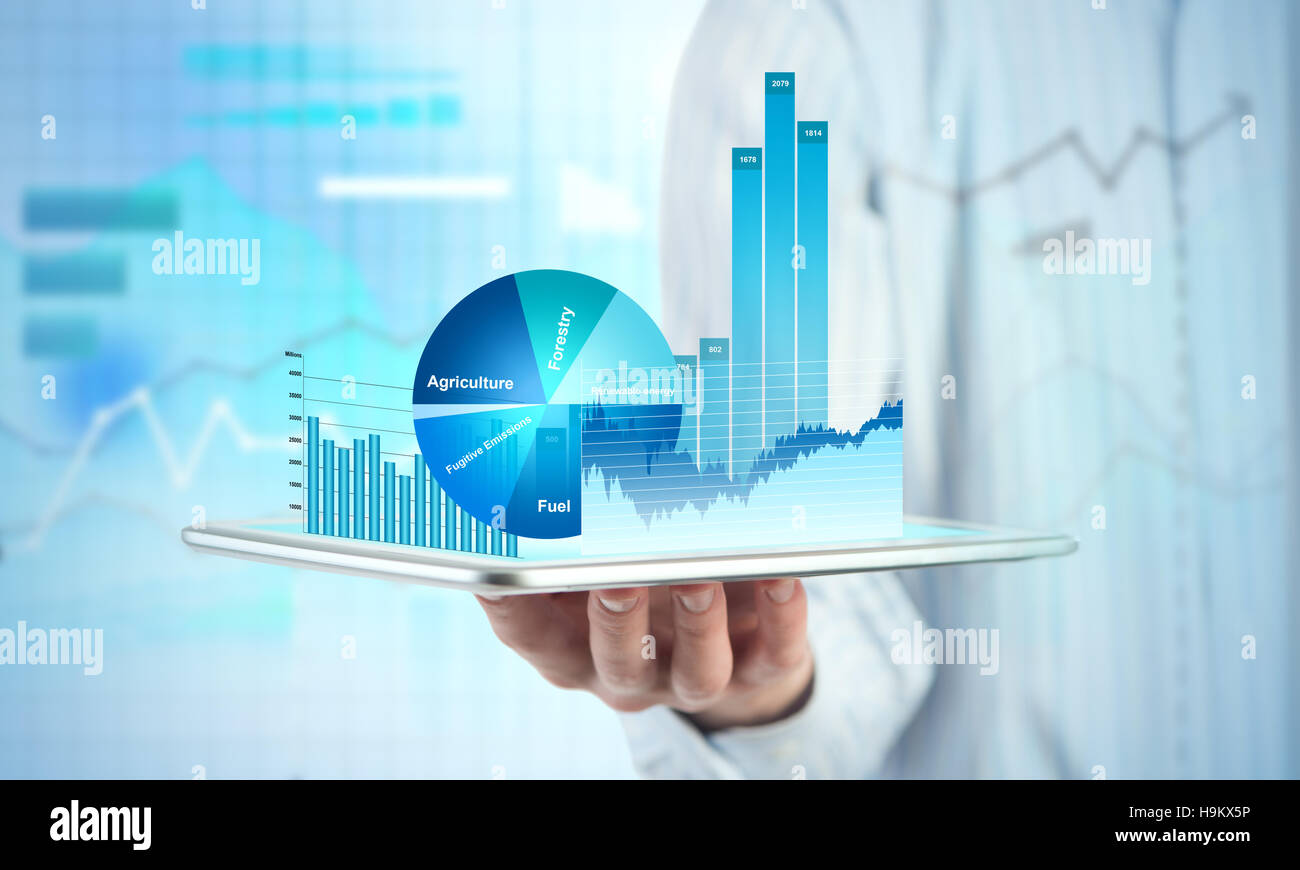 Presenting average sales report - Stock Image