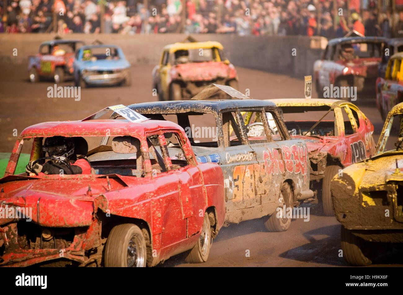 banger racing races race demolition derby derbies destruction old car cars   insurance crash crashes crashing dent - Stock Image