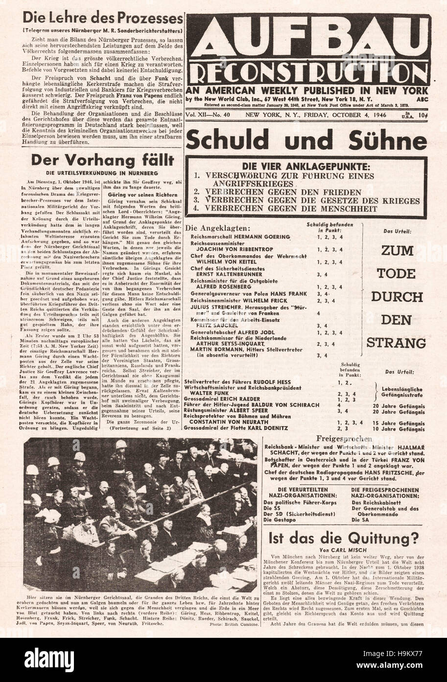 1946 Aufbau (USA) front page Nazi leaders sentenced to death Stock Photo