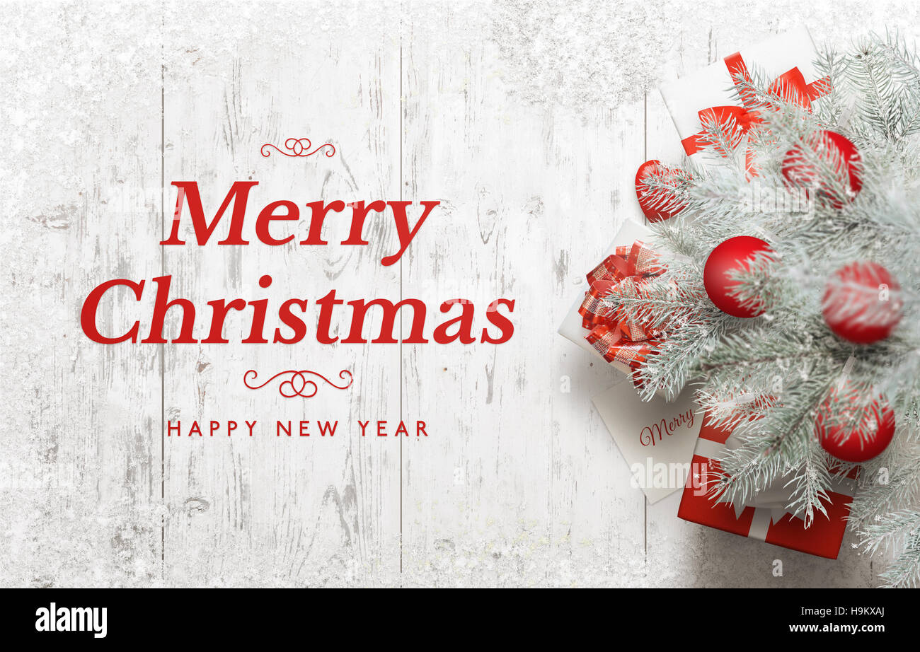 Merry Christmas and Happy New Year greeting card. Christmas tree on ...