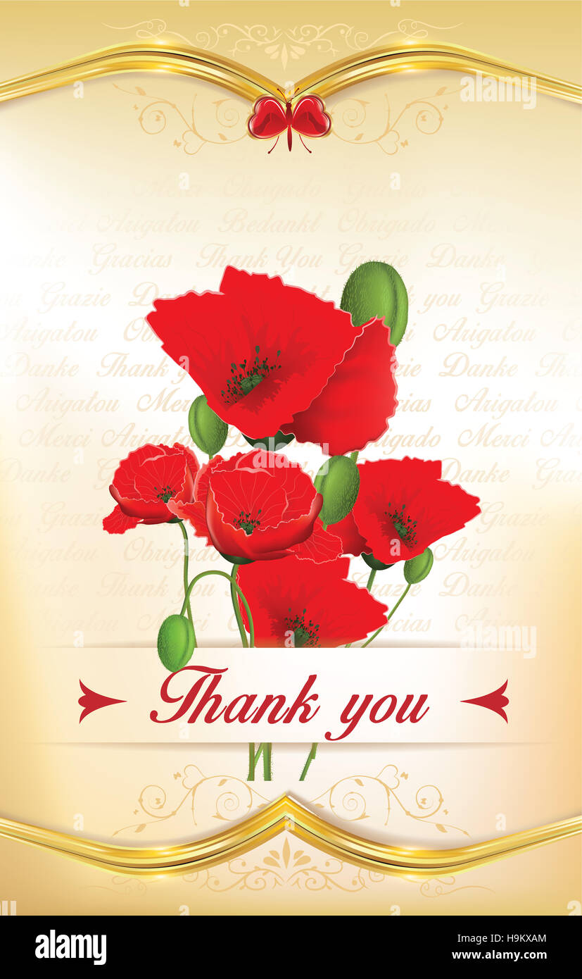 Thank you greeting card with poppy flowers and floral decorative ...