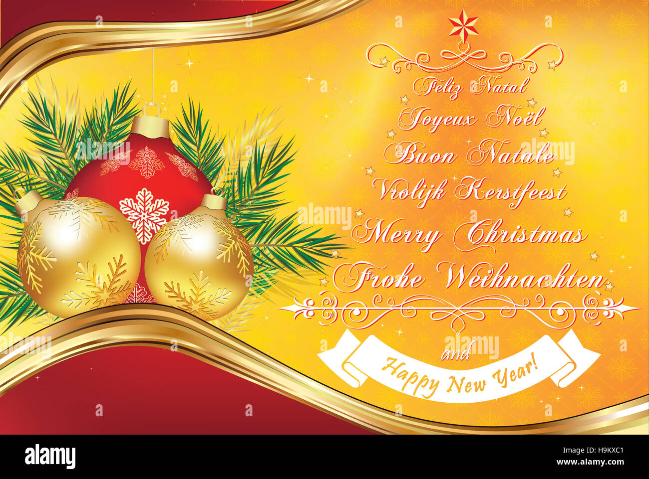 warm new year greeting card in many languages merry christmas in german english dutch italian french and spanish print