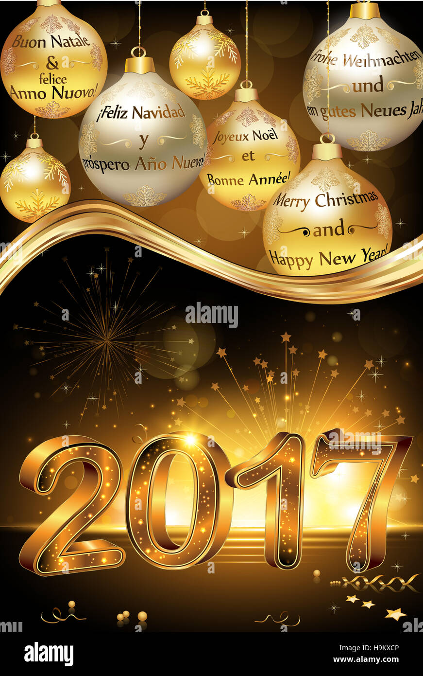 happy new year 2017 greeting card card with message in many languages english
