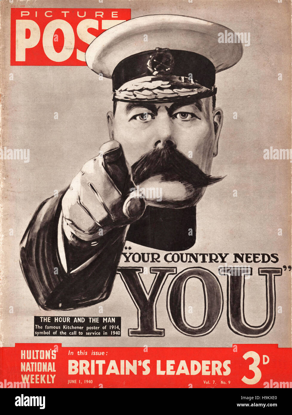 1940 Picture Post Kitchener Poster ('Your Country Needs You!') - Stock Image