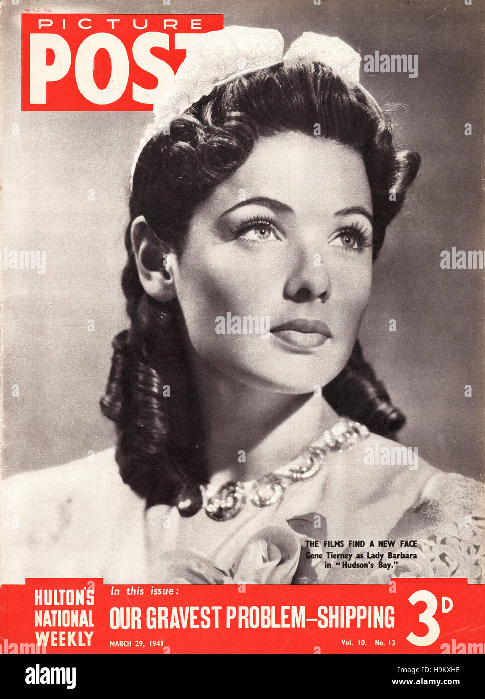 1941 Picture Post Actress Gene Tierney - Stock Image