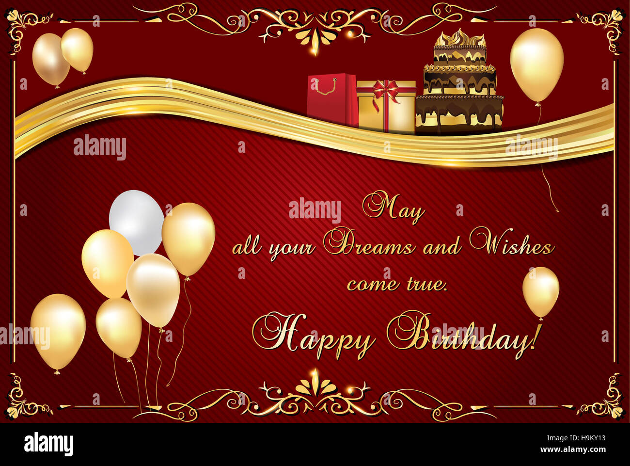 Elegant Birthday Card Also For Print Happy Greeting Contains Balloons Cake And Presents