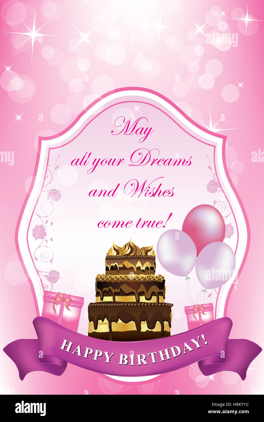 Happy Birthday Purple Pink Printable Greeting Card For Birthday