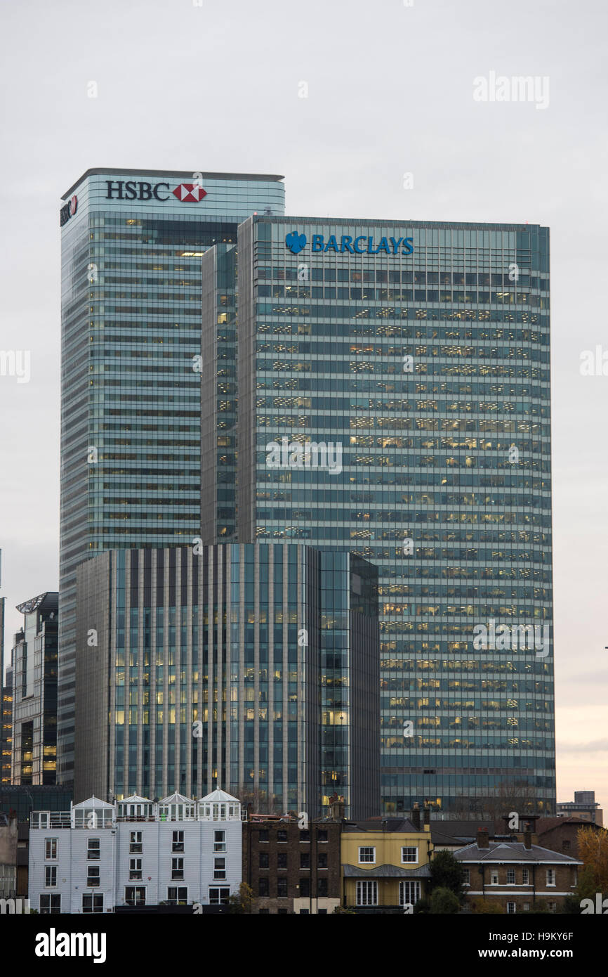 General view of the London headquarters of HSBC and Barclays Bank