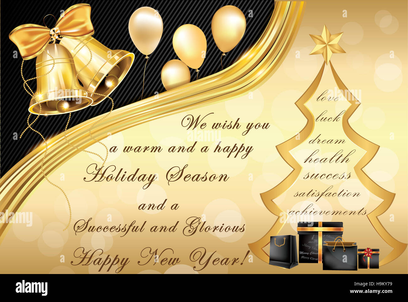 elegant corporate christmas and new year greeting card contains jingle bells christmas tree gifts and warm wishes for winter
