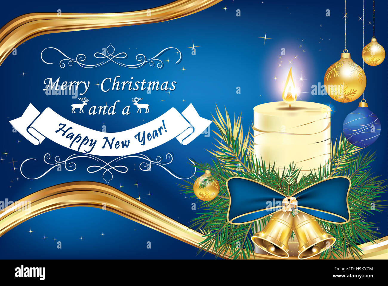 merry christmas and happy new year greeting card for winter holidays with candle blue ribbon and pine tree branches and christ