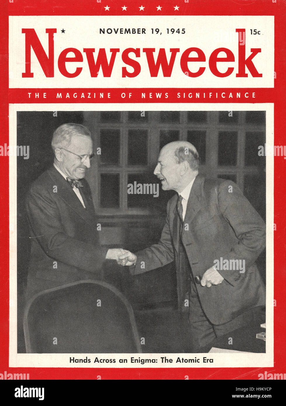 1945 Newsweek President Harry Truman and Prime Minister Clement Attlee - Stock Image