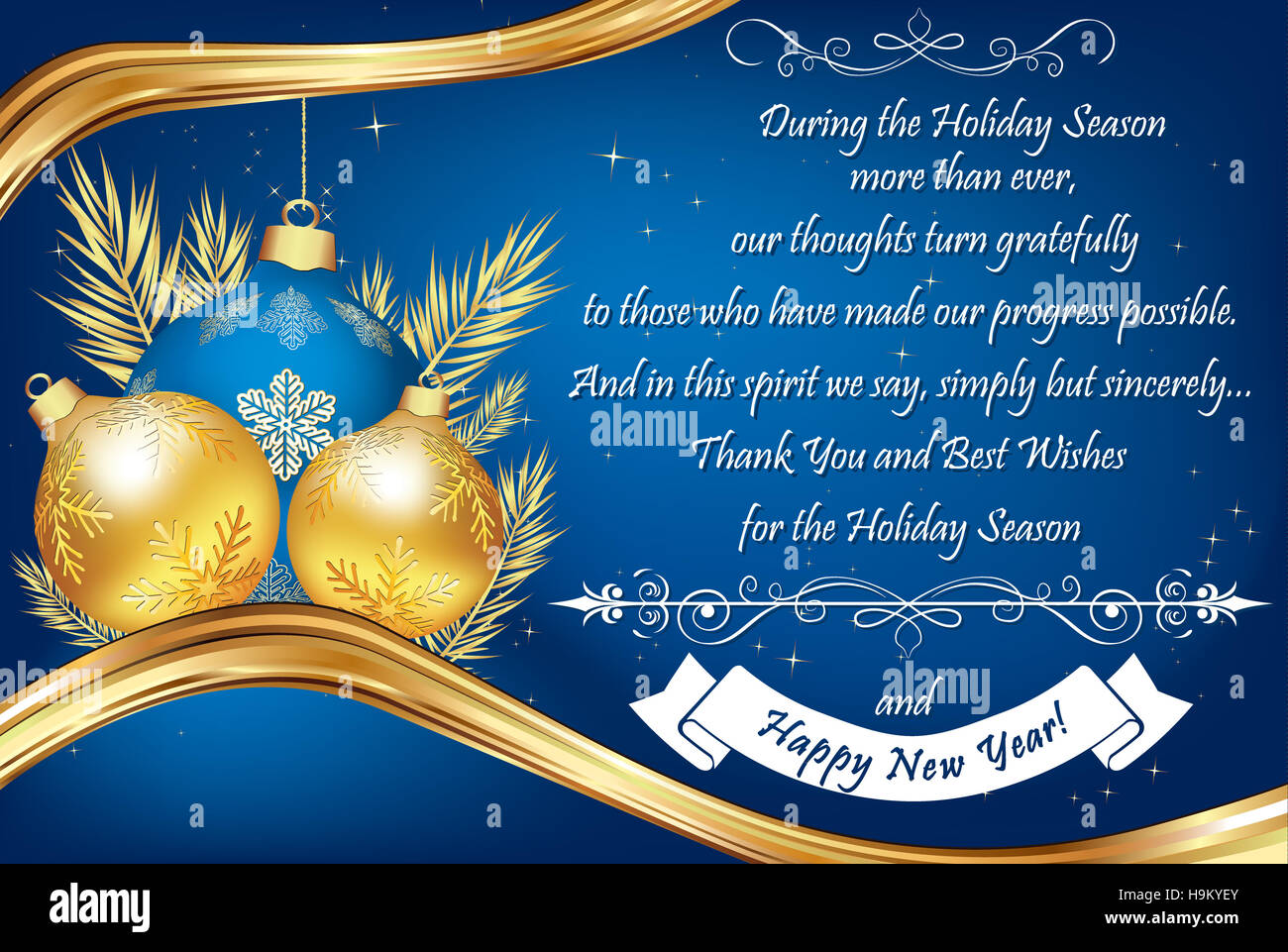 Thank You Blue Business Greeting Card For The End Of The Year Stock