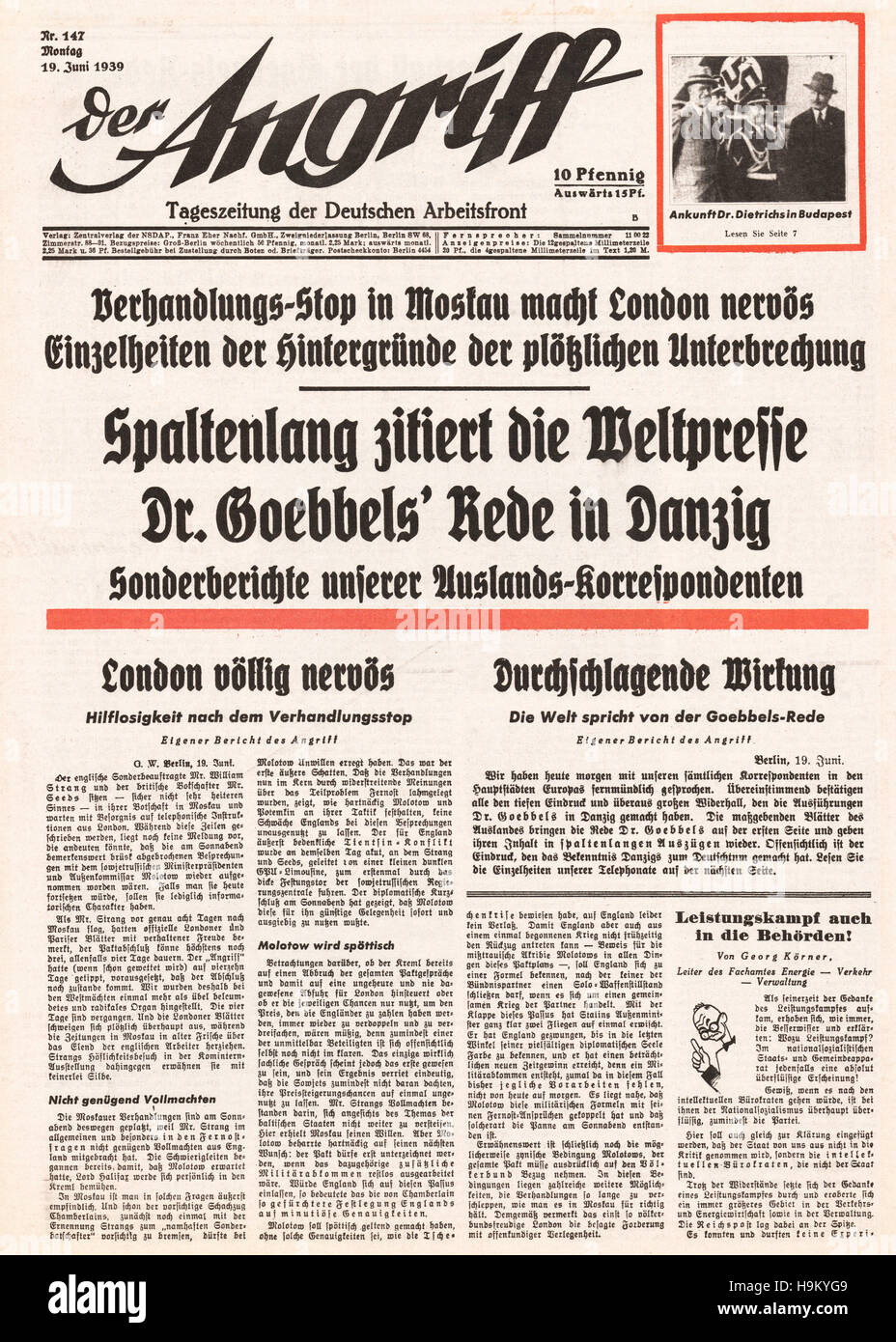 1939 Der Angriff (Germany) front page Political crisis over Danzig Stock Photo