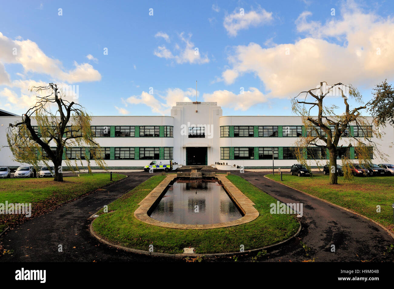 The police station at Hatfield, part of the former British Aerospace plant, Art Deco style, Hertfordshire, England - Stock Image