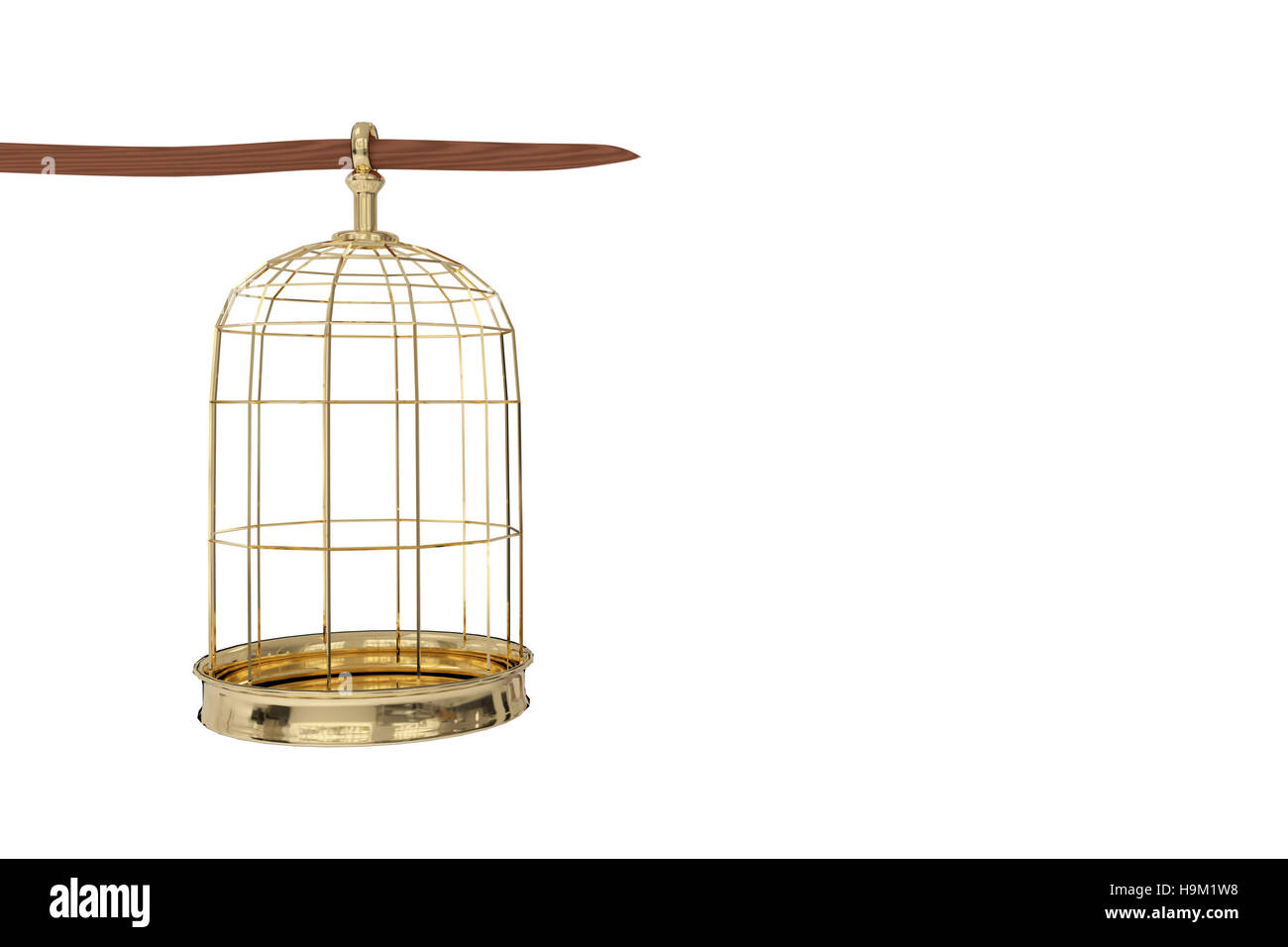3D rendering of  a golden bird cage on white background, freedom concept - Stock Image