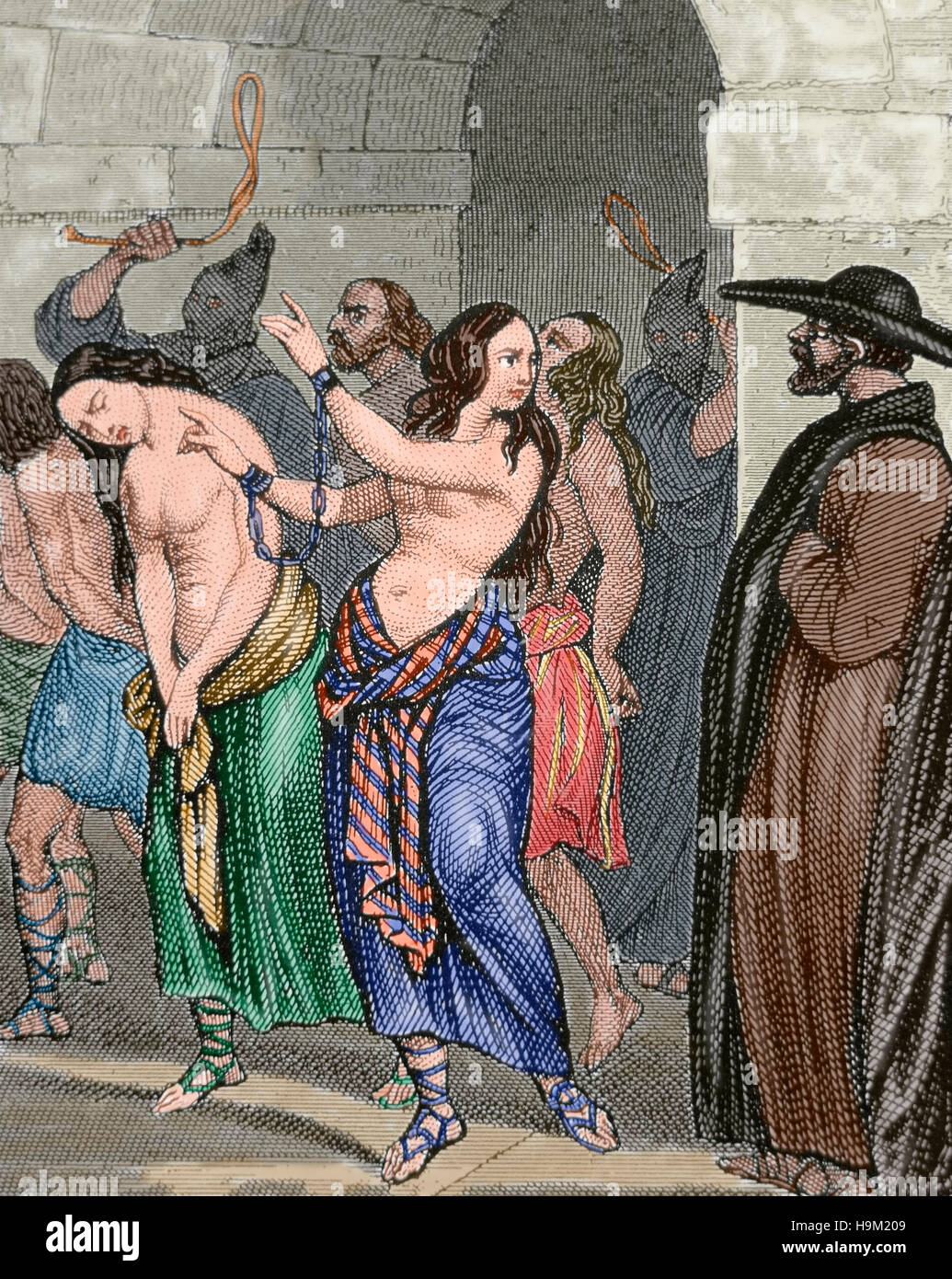 Middle Ages. Women accused of witchcraft leading to prison. Engraving, 19th century. Colored. - Stock Image
