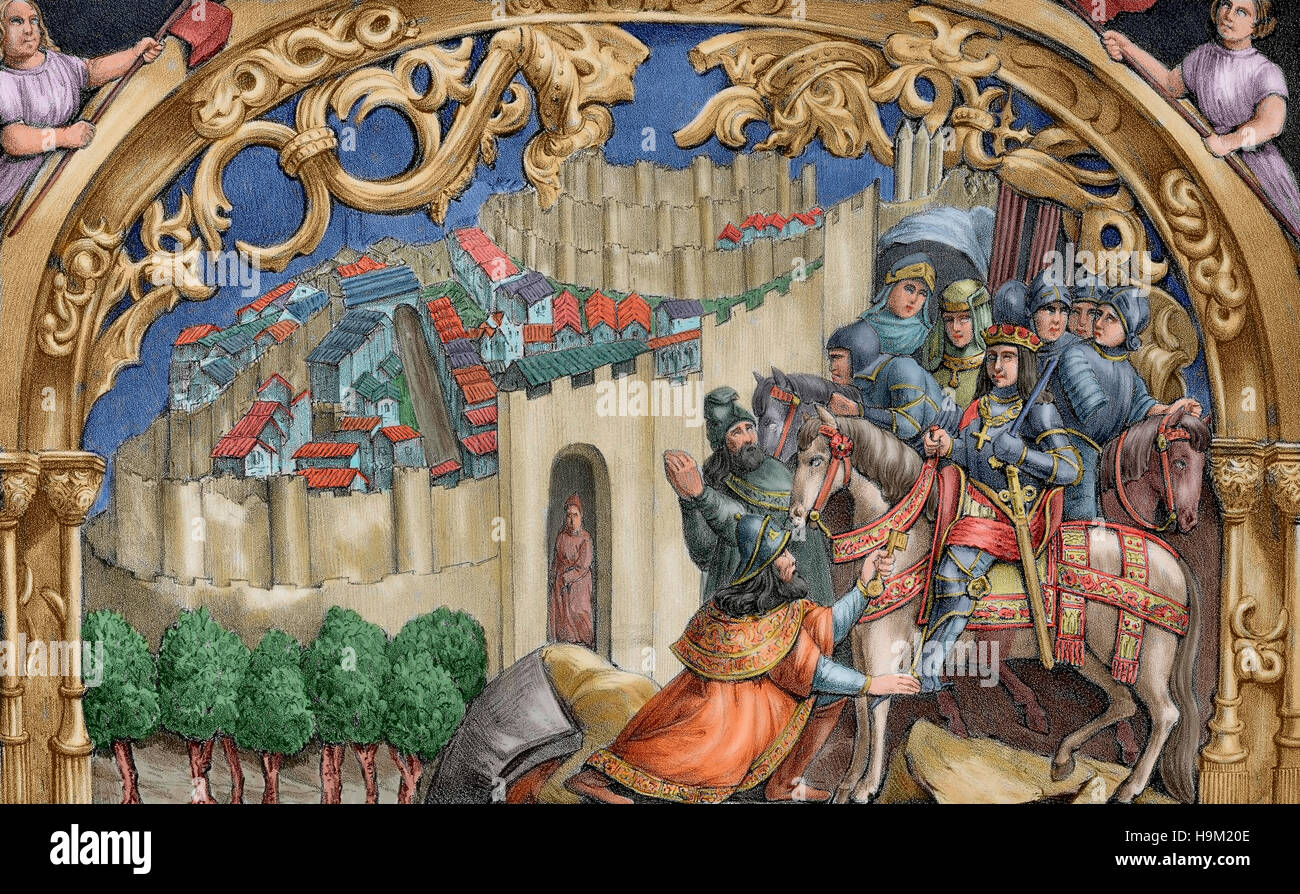 Boabdil (1460-1527), the last Nasrid ruler of Granada, gives the keys of the city to the Catholic Kings. Lithograph - Stock Image