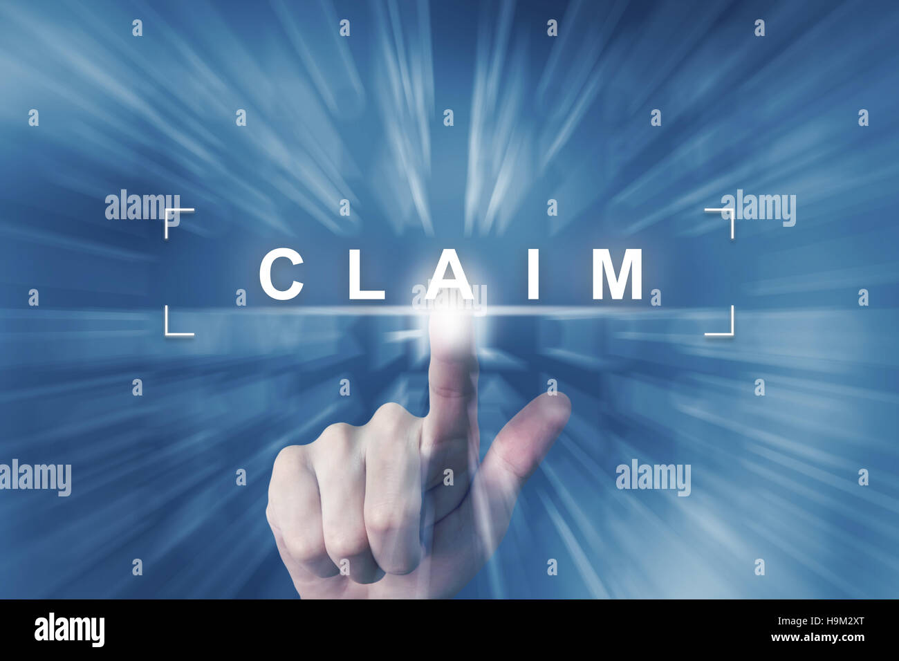 hand clicking on claim button with zoom effect background - Stock Image