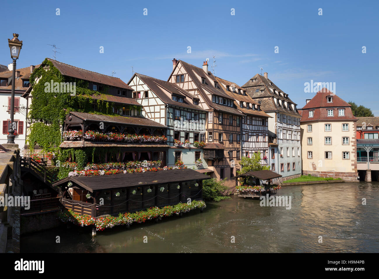 France, Strasbourg, Half timbered houses at Ill river, UNESCO World heritage - Stock Image