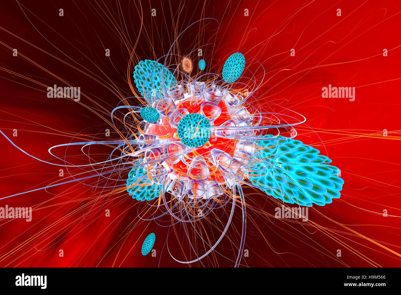 Immune system defense cells attacking a virus, 3D Rendering - Stock Image