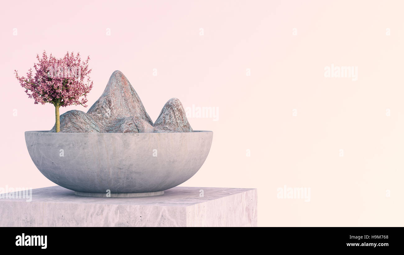 Tree and mountains in zen bowl on marble stand - Stock Image
