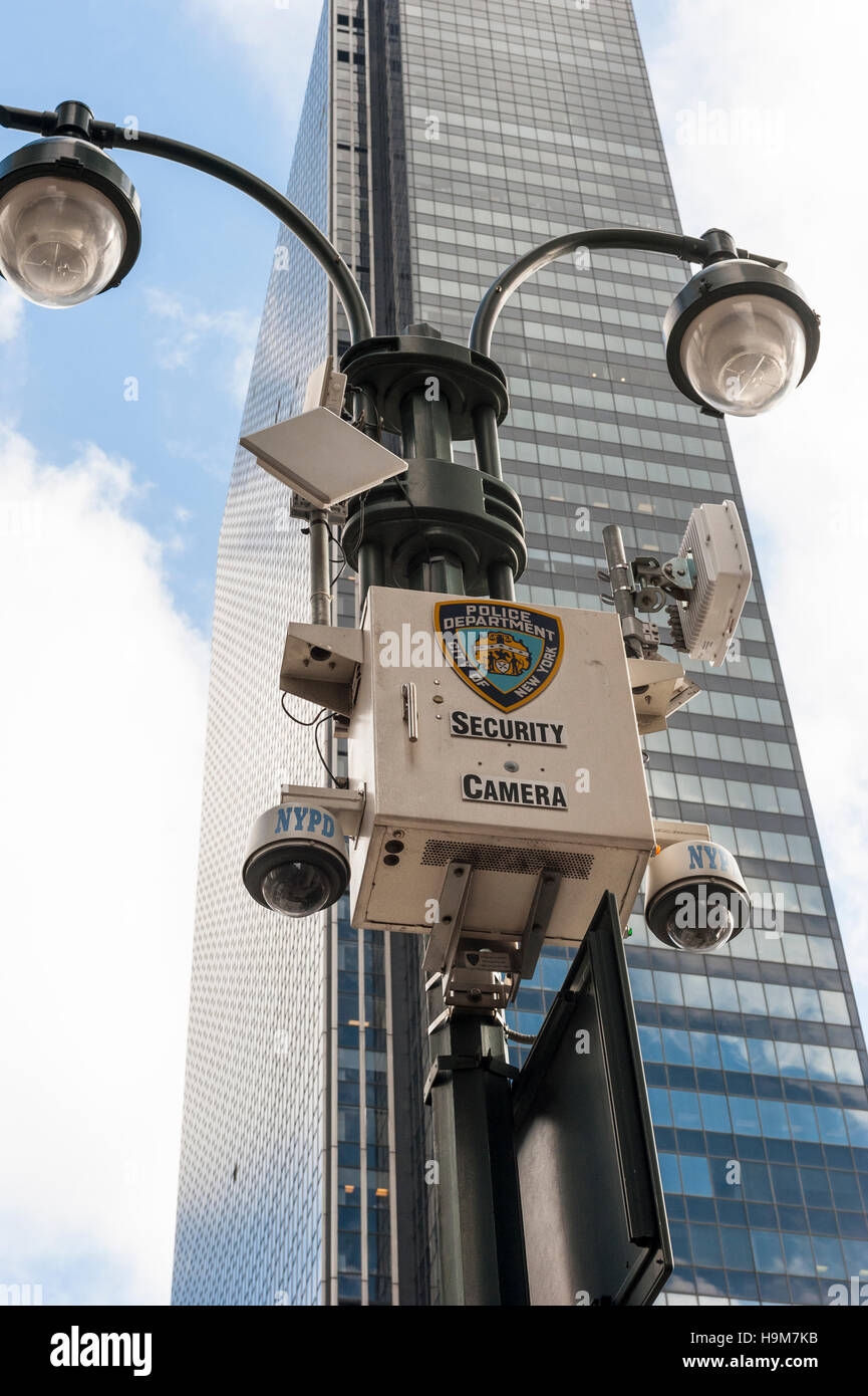 New York City Police street security cameras mounted in a
