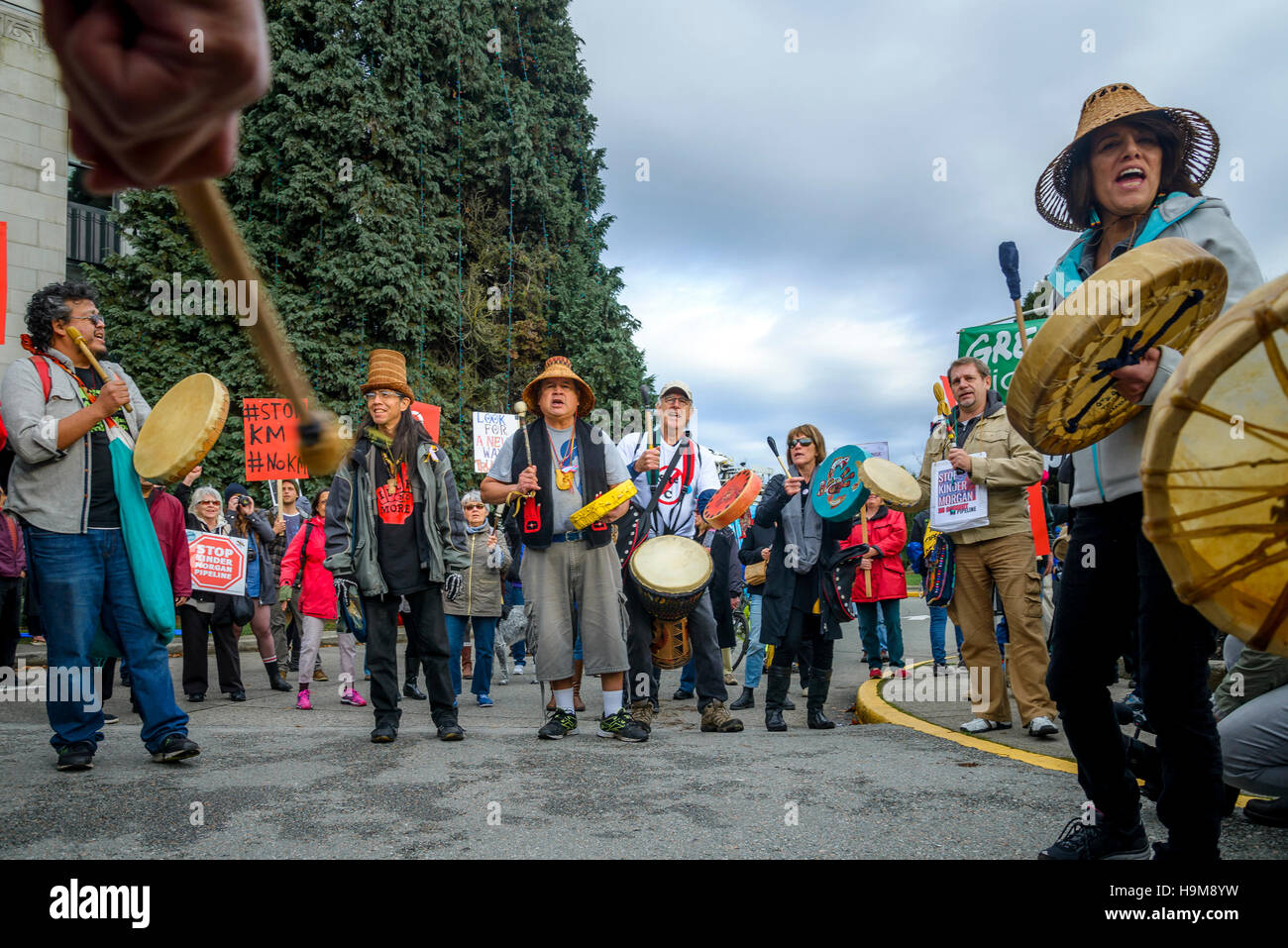 Anti Kinder Morgan Pipeline Protest Rally Vancouver City Hall, Vancouver, British Columbia, Canada. - Stock Image